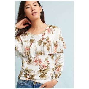 Anthropologie Floral Ruffled Pullover